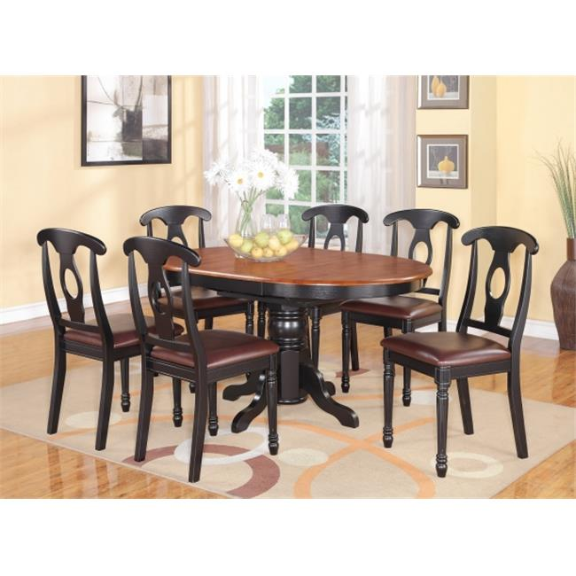 East West Furniture KENL7-BLK-LC Kenley 7PC with Single Pedestal Oval Dining Table and 6 Napoleon styled wood seat chairs.