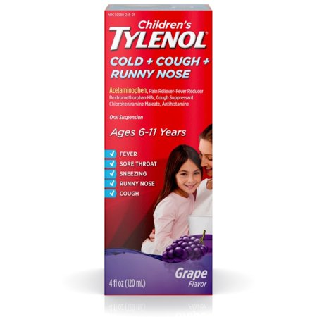 2 Pack - Children's TYLENOL Cold + Cough + Runny Nose Oral Suspension, Grape 4 oz Tylenol Childrens Oral Suspension