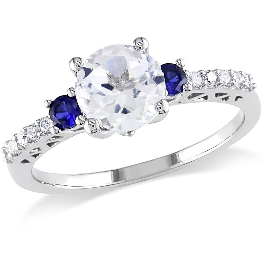 Tangelo 1-3/5 Carat T.G.W. Created White and Blue Sapphire and Diamond-Accent 10kt White Gold Engagement Ring