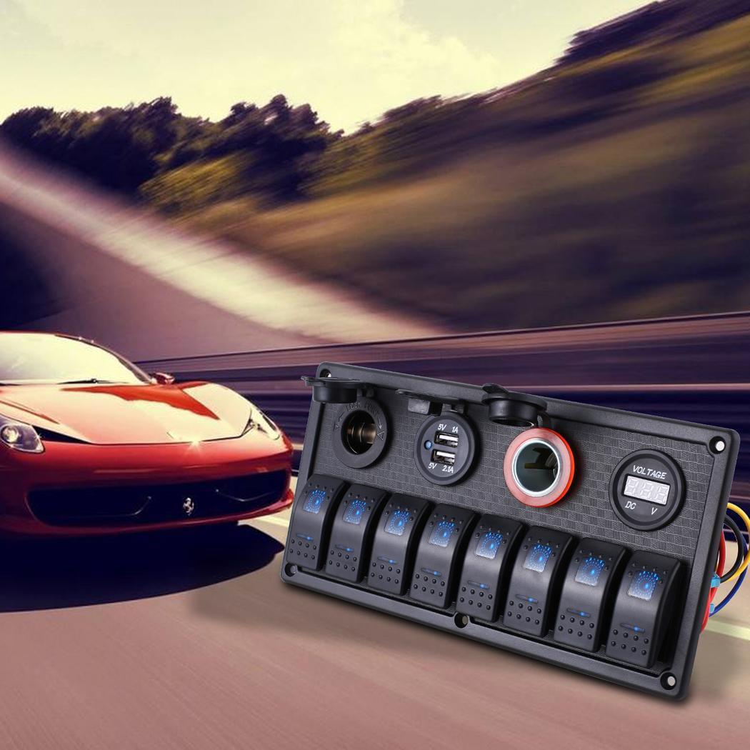 Cdicount 8 Gang LED Rocker Switch Panel 12V 24V Car Boat ...