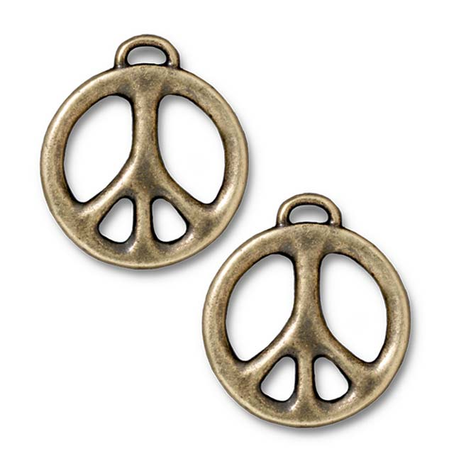 Brass Oxide Finish Pewter Peace Sign Pendant 27mm (1)