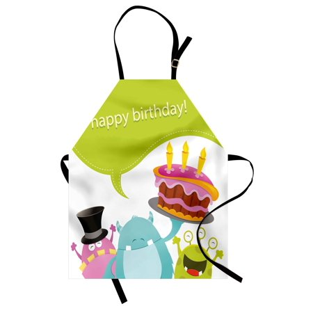 Birthday Apron Pretty Funny Smiling Monsters Saying Happy Birthday Yummy Cake Kids Themed Print, Unisex Kitchen Bib Apron with Adjustable Neck for Cooking Baking Gardening, Multicolor, by - Monster Themed Birthday