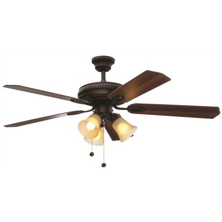 Hampton Bay 3573949 Glendale 52 In. Indoor Oil Rubbed Bronze Ceiling Fan With Light Kit