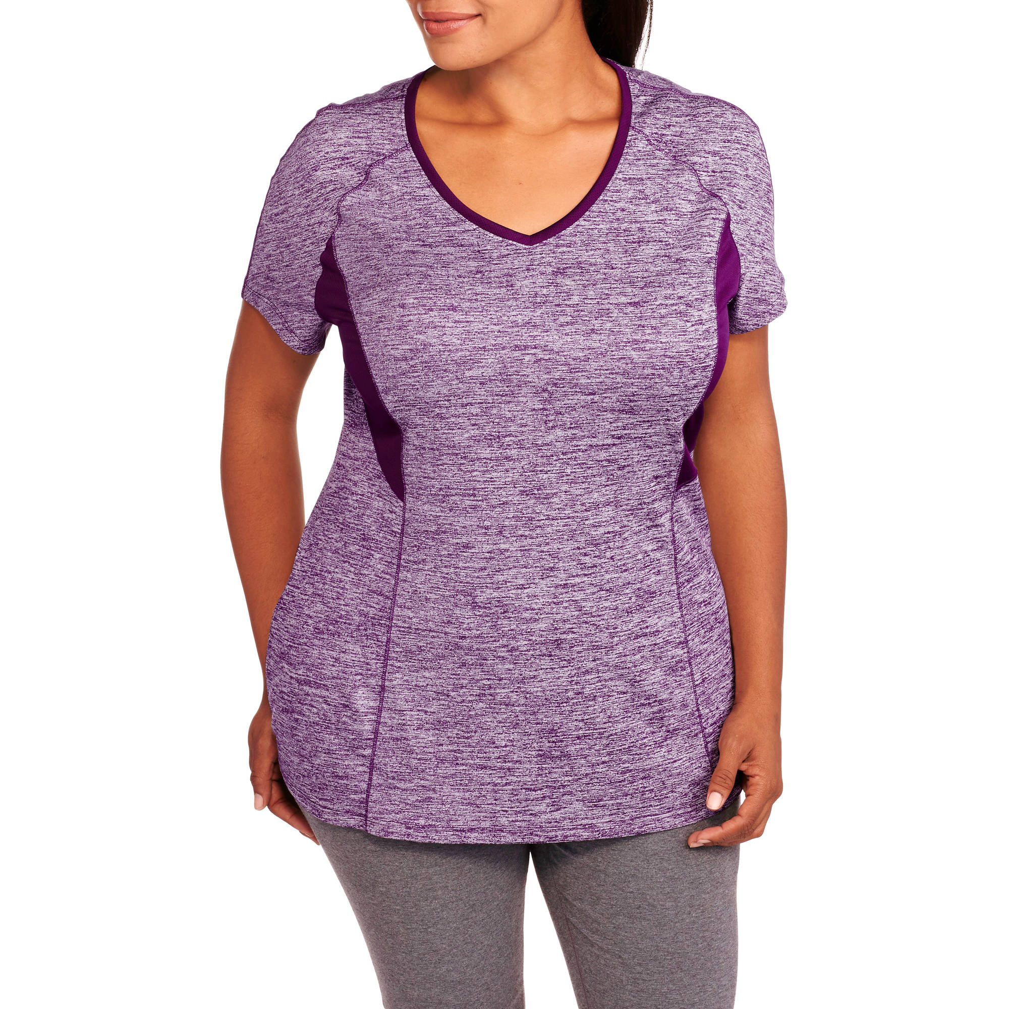Danskin Now Women's Plus-Size Active Heather V-Neck Performance  Tee