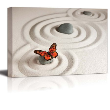 Canvas Prints Wall Art - Circles on White Sand and Zen Rocks with Butterfly | Modern Wall Decor/Home Decor Stretched Gallery Canvas Wraps Giclee Print & Ready to Hang - 32