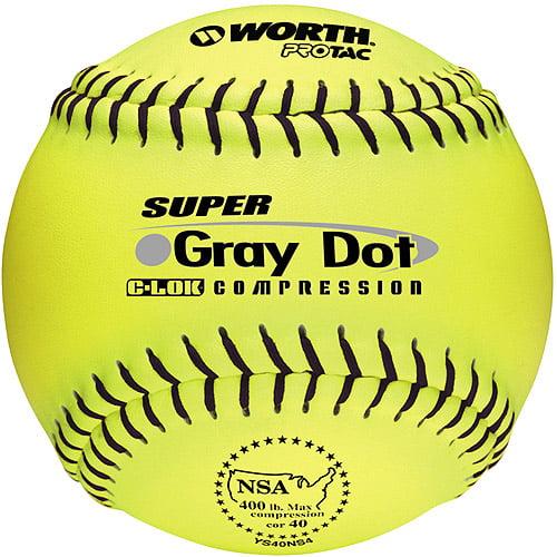 "Worth Protac Offical NSA Super Gray Dot Softball-12"" - 1 Dozen"