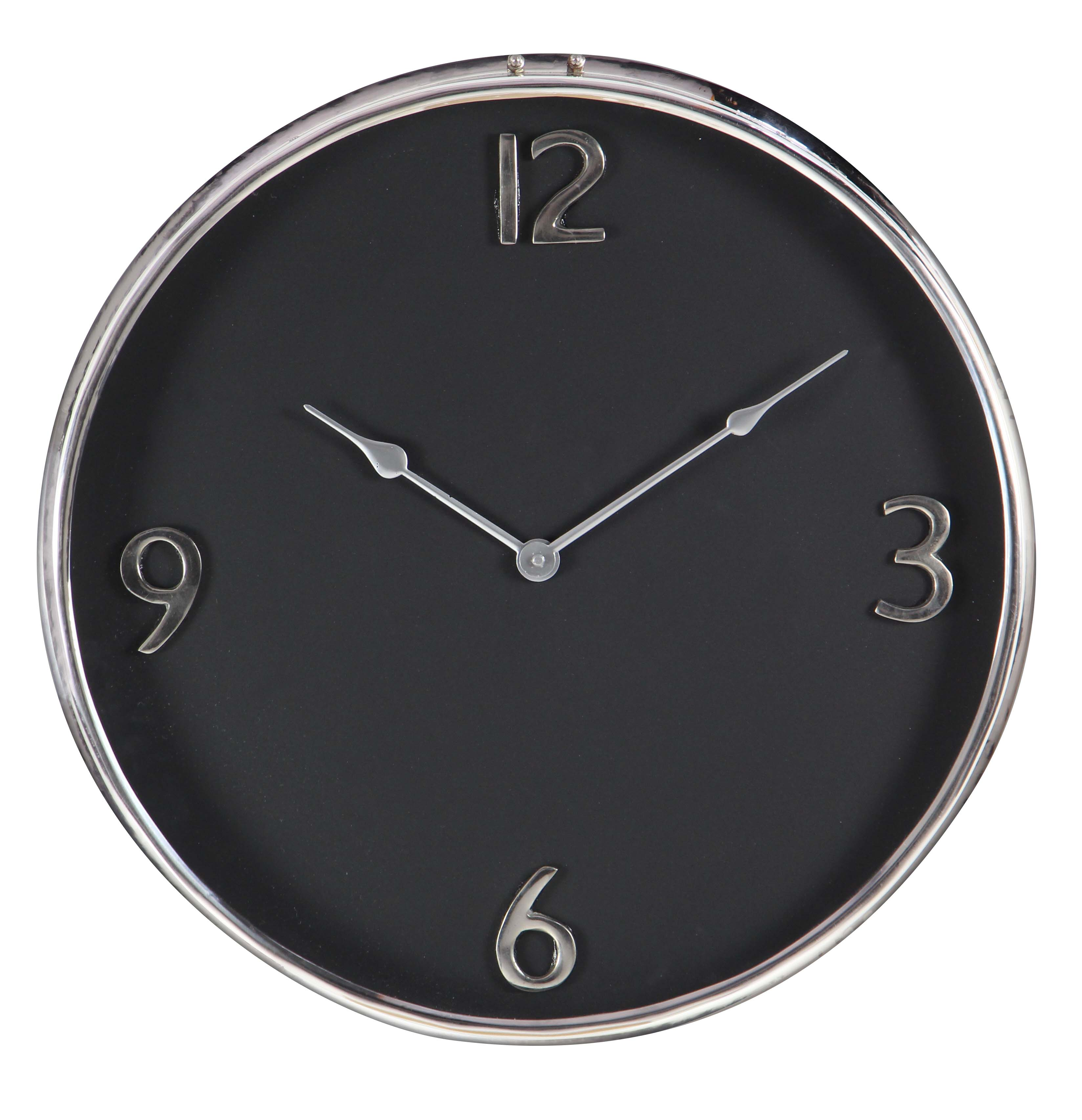 Decmode Contemporary 18 Inch Black Stainless Steel And Aluminum Round Wall Clock by DecMode