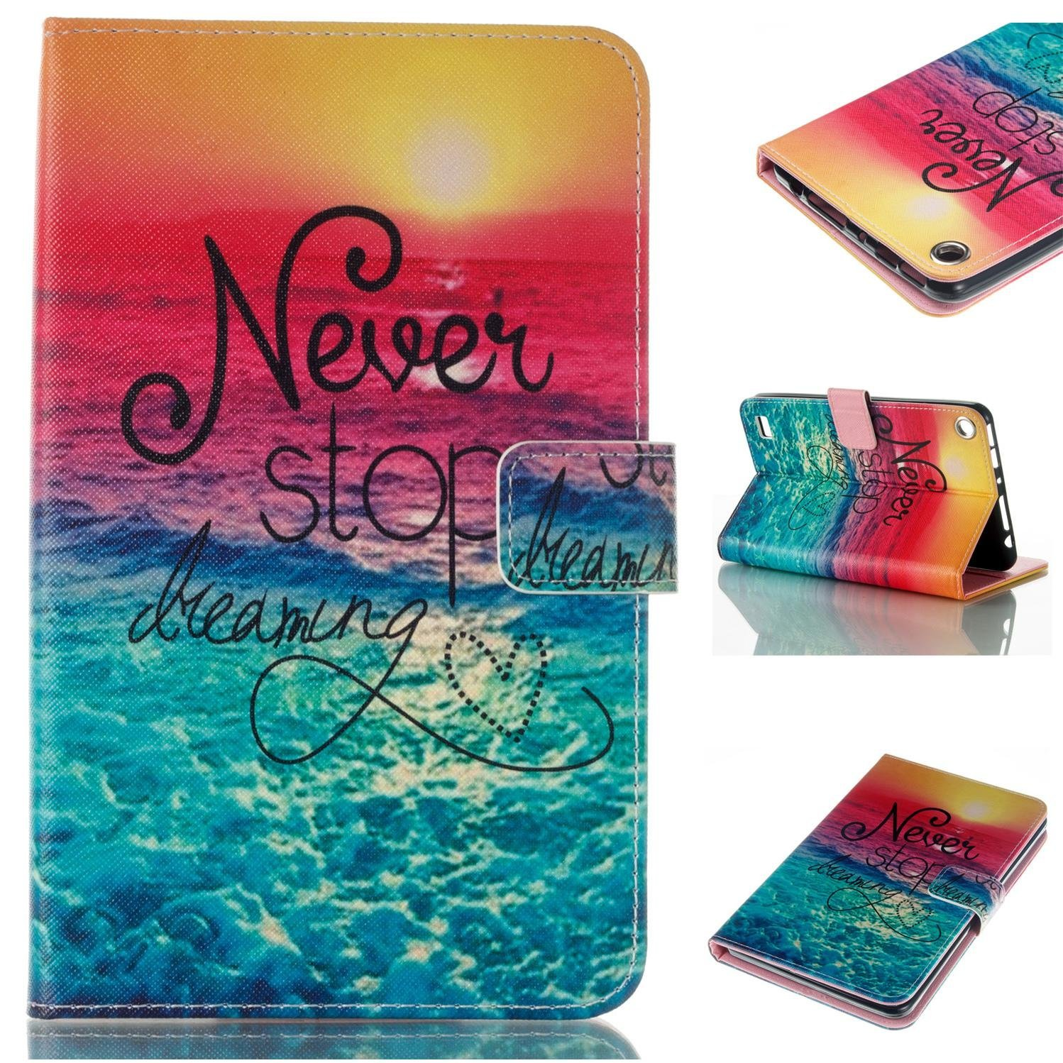 Fire 7-inch 2015 Case, Goodest Ultra Slim PU Leather Folio Folding Stand Cover with Magnetic Closure for All-New Amazon Kindle Fire HD 7 Tablet (5th Generation,2015 Release), Never Stop Dreaming