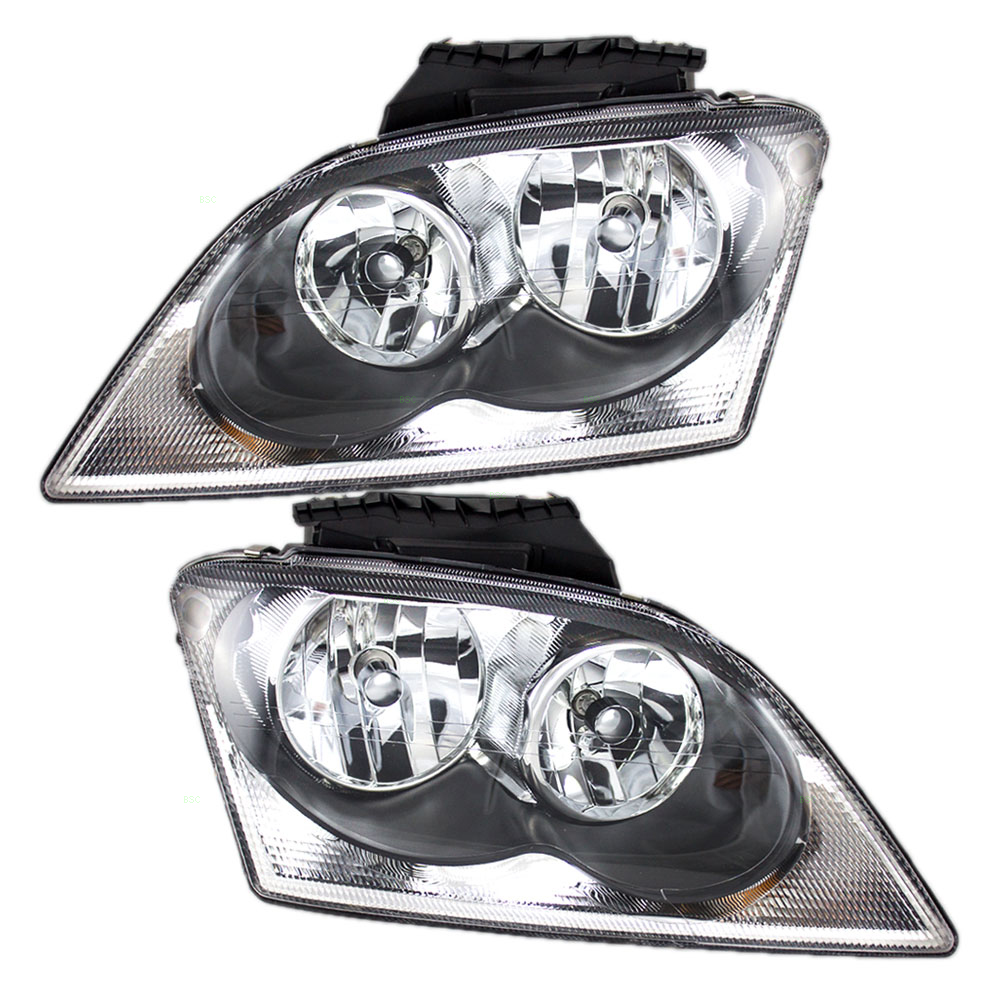 Pair Set Halogen Combination Headlights Headlamps Replacement Fits 04 06 Chrysler Pacifica 4857851ae 4857850aa