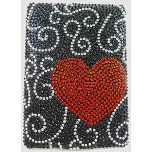"Black Red Heart Diamante Kindle 6"" Crystal Rhinestone Back Case"