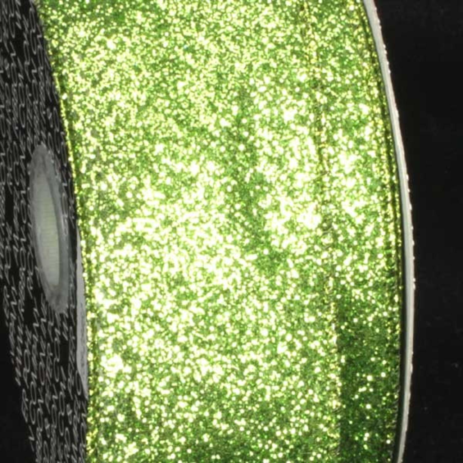 "Premium Sparkling Green Wired Glitter Craft Ribbon 2"" x 40 Yards"