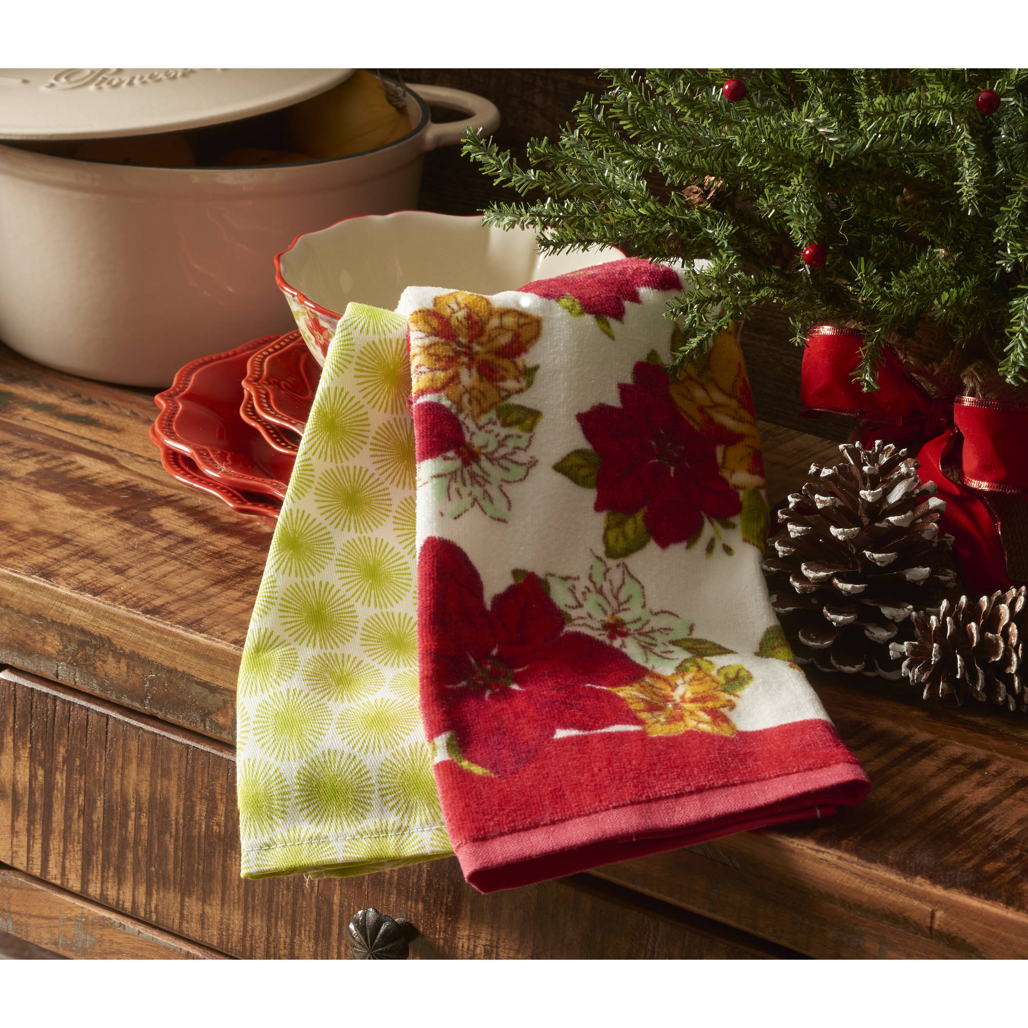 The Pioneer Woman Holiday Watercolor Poinsettia Kitchen Towel 4-Pack Set, Multi-Color