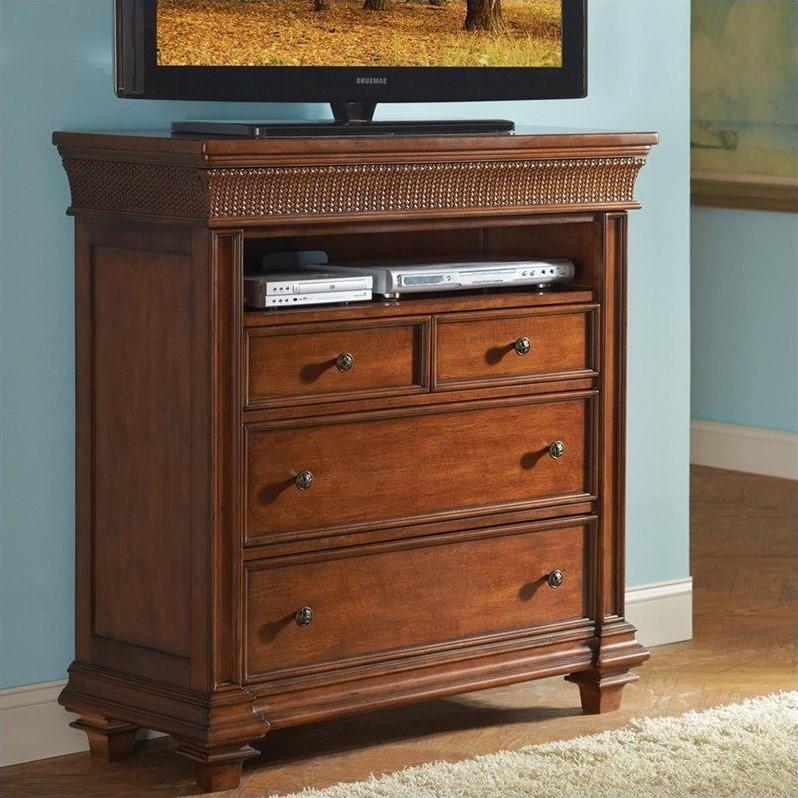 Riverside Furniture Windward Bay Media Chest in Warm Rum by Riverside Furniture