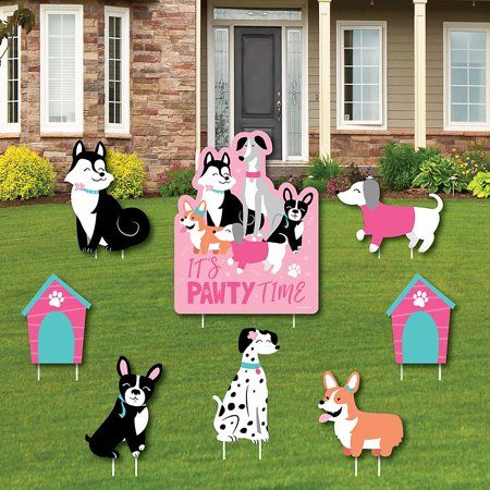 Pawty Like a Puppy Girl - Yard Sign and Outdoor Lawn Decorations - Pink Dog Baby Shower or Birthday Party Yard Signs - Set of - Girl Yard Sign