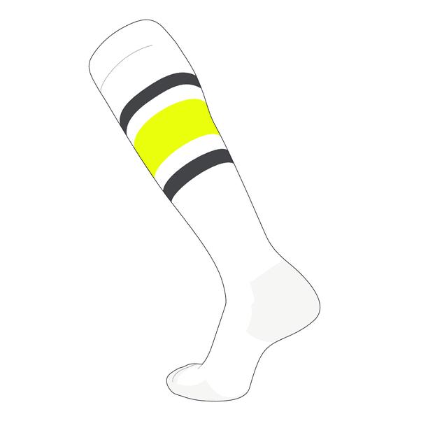 Black NEON Yellow Dk TCK Elite Baseball Football Knee High Striped Socks E