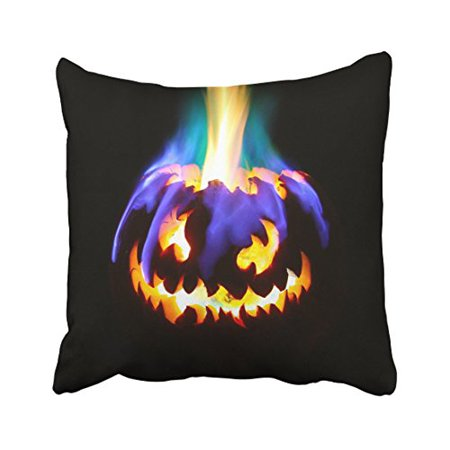 WinHome Happy Halloween Scary Pumpkin Light Purple Fire Decorative Pillowcases With Hidden Zipper Decor Cushion Covers Two Sides 18x18 inches](Scary Halloween Pumpkins Patterns)