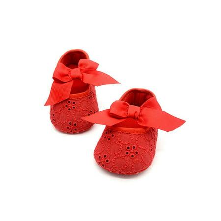 JLONG Newborn Toddler Girls Crib Princess Shoes Baby Soft Sole Cotton Prewalker 0-18M