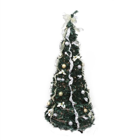 6 pre lit silver and gold decorated pop up artificial christmas tree - Pre Decorated Pop Up Christmas Trees
