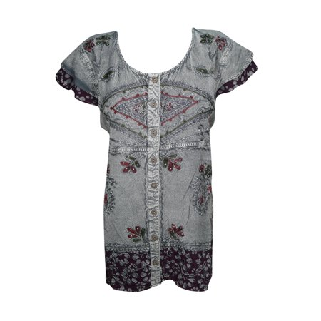 Mogul Women's Top Blouse Embroidered Stonewashed Button Front Cap Sleeves Tunic Tops S/M Blouse India Clothing