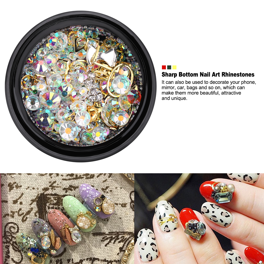 Fosa Colorful Sharp Bottom Nail Art Rhinestones Glitter Manicure DIY Decoration Accessories, Nail Art Rhinestones, Nail Art Decoration