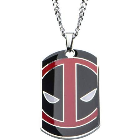 Deadpool Men's Stainless Steel Enamel Engraved Dog Tag Pendant, 24 Chain