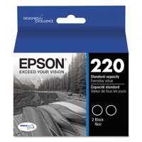 Epson T220120D2 (220) DURABrite Ultra Black Ink Cartridge, 2-Pack