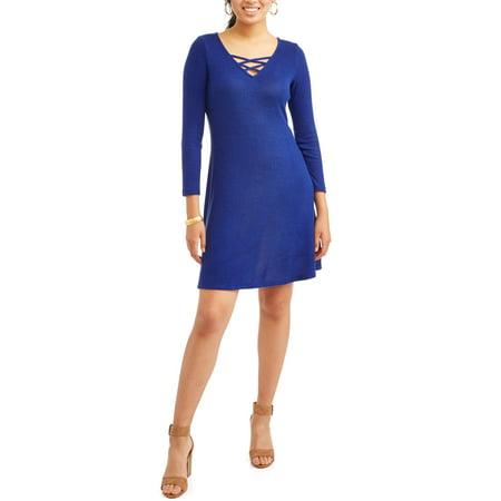 - Shira Pearla Women's Super Soft Lattice Front Dress