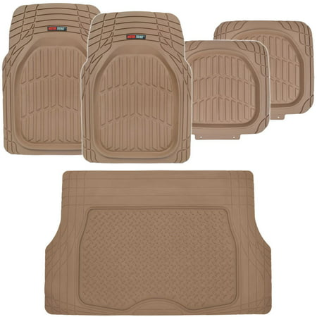 Motor Trend DeepDish Car Floor Mats 4 Pcs with Cargo Trunk Mat, 100% Odorless Clean Rubber, Extra Heavy Duty (Volvo Trunk Mat)