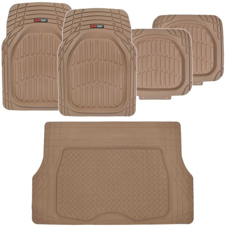 Motor Trend DeepDish Car Floor Mats 4 Pcs with Cargo Trunk Mat, 100% Odorless Clean Rubber, Extra Heavy Duty Protection ()