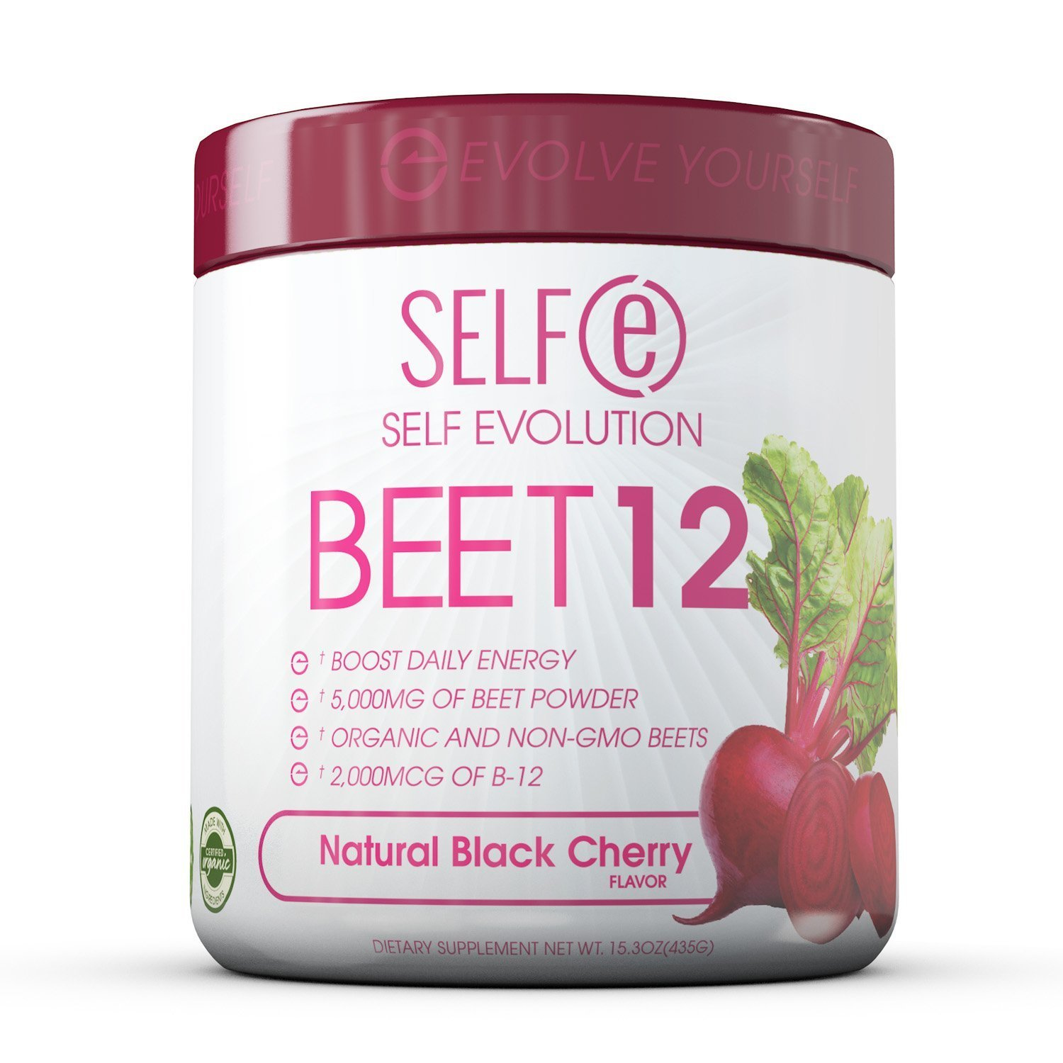 Selfe Beet 12 - Beetroot Powder Supplement Plus Vitamin B12 - Black Cherry - 5G - 30 Servings