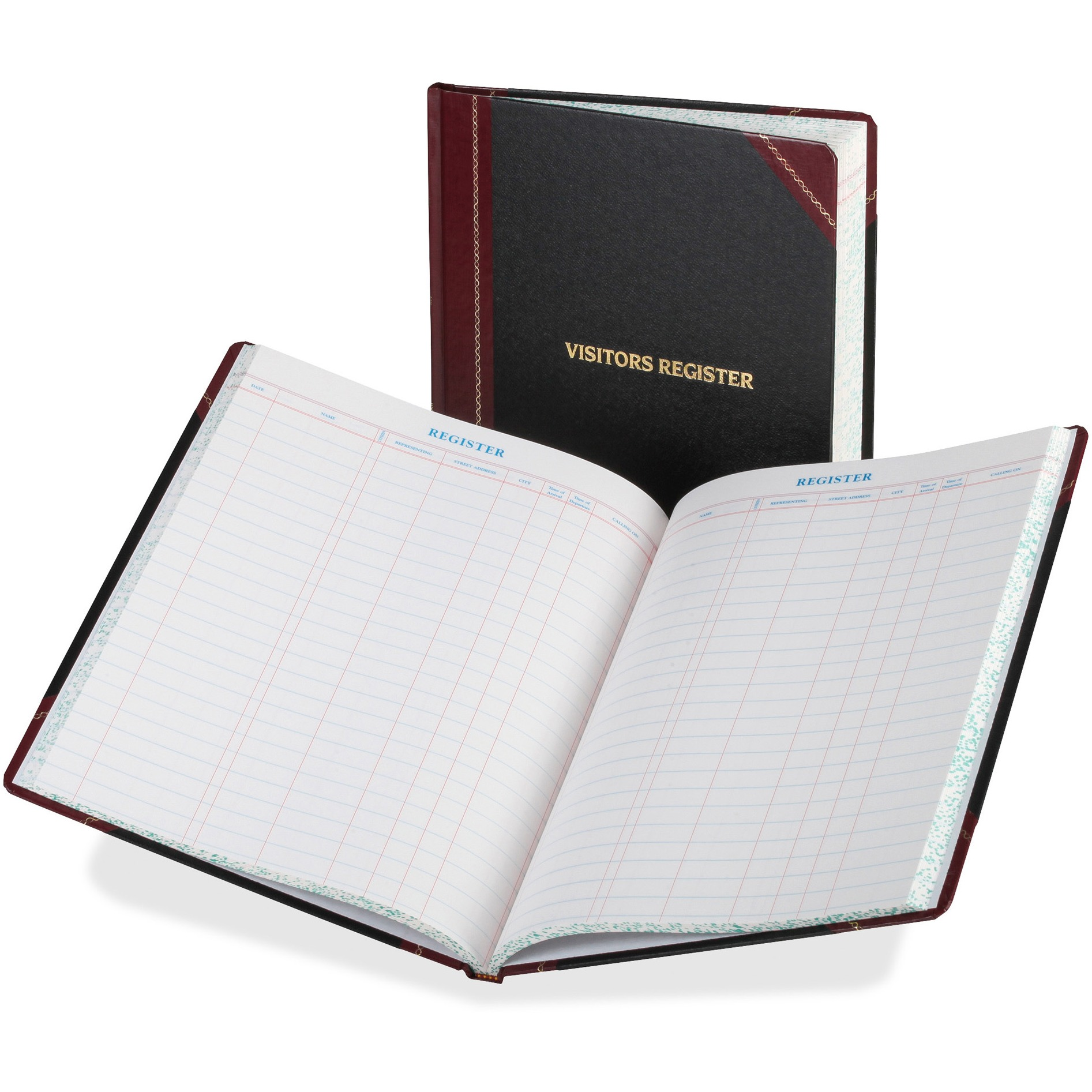 Boorum & Pease Visitor Register Book, Black Red Hardcover, 150 Pages, 10 7 8 x 14 1 8 by TOPS Products
