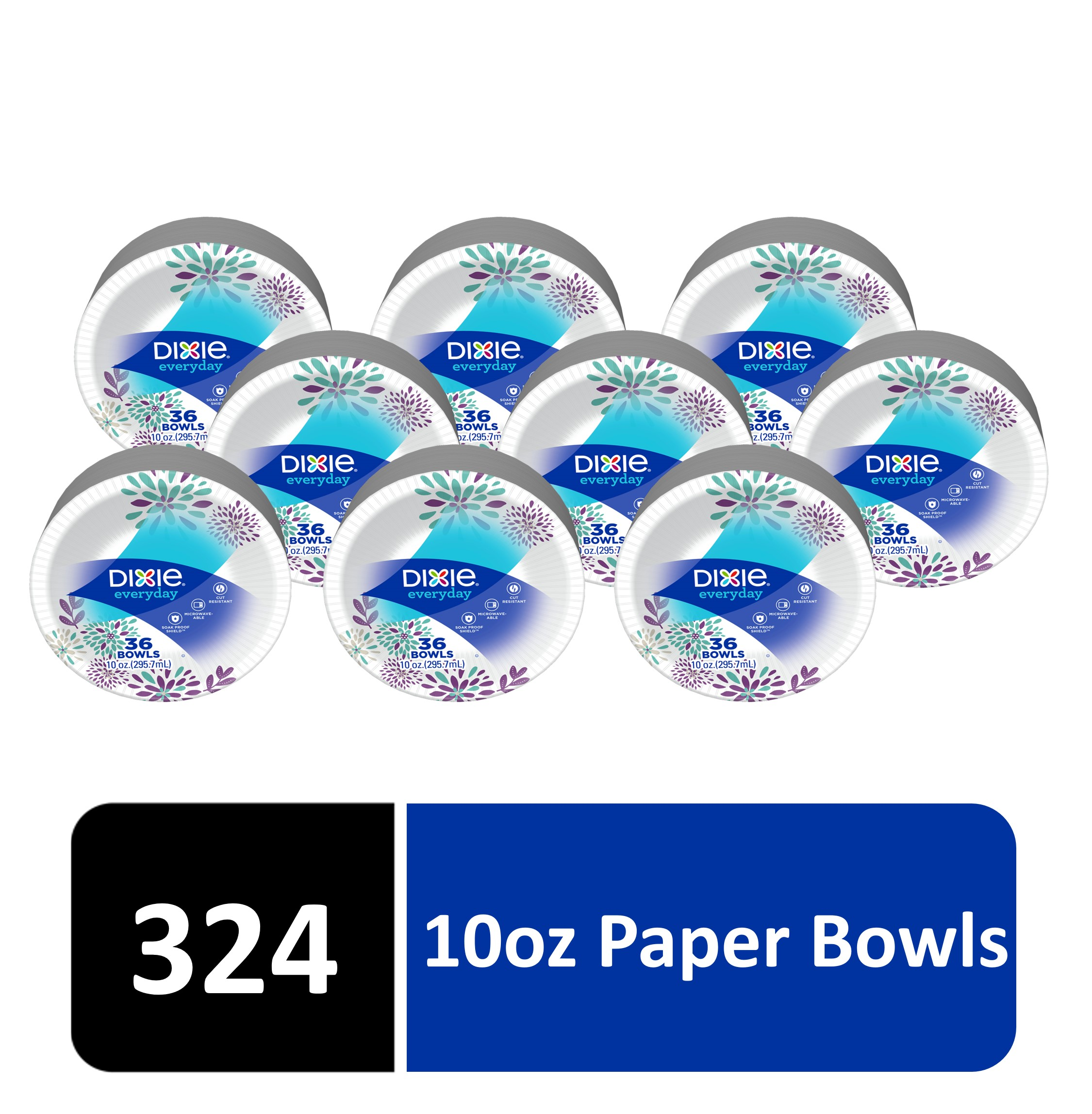 9 Packs of 36 Bowls Dixie Everyday Paper Bowls 10 Ounces 324 Count