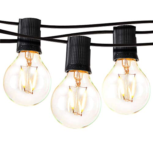 Brightech Ambience Pro - Waterproof LED Outdoor String Lights - Hanging 1W Vintage Edison Bulbs - Patio Globe Lights Create Cafe Ambience On Your Balcony - 26 Ft, Black