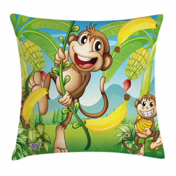 Nursery Throw Pillow Cushion Cover Two Monkeys Near The Banana Plant Tropical Nature Landscape Vine Funny Animals Apes Decorative Square Accent Pillow Case 18 X 18 Inches Multicolor By Ambesonne Walmart Com