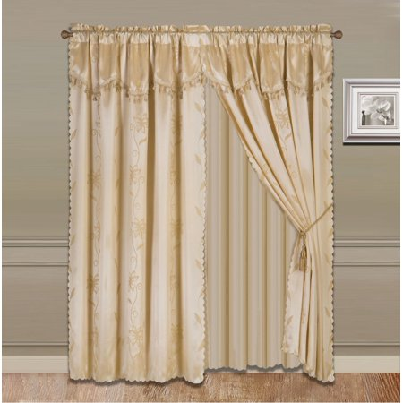 8 Piece Gold Nada Luxury Faux Jacquard Floral Design Panel  Rod Pocket Window Curtain Set Attached Valance  Panel  And Sheer  Includes 2 Tie Backs