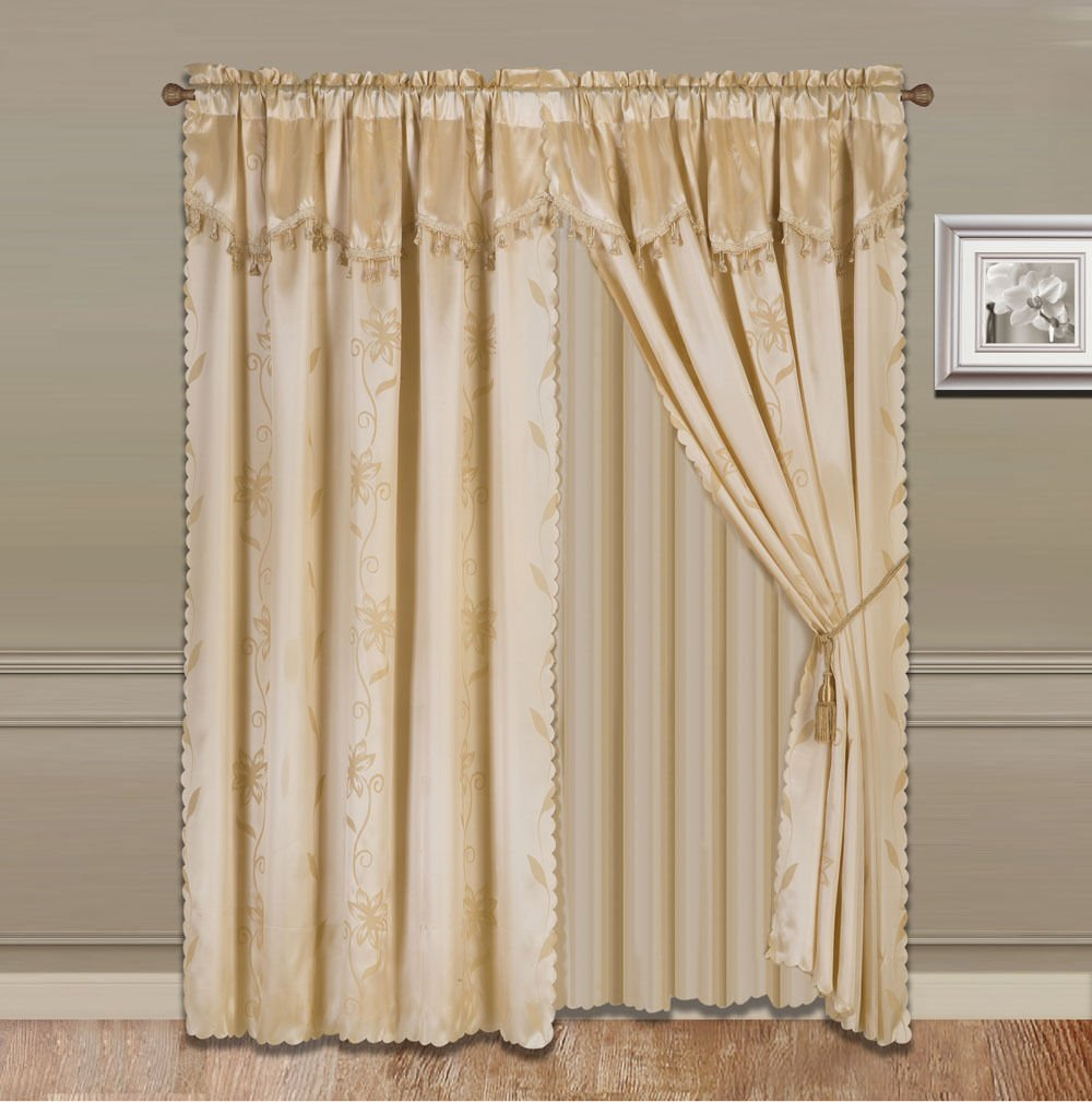 8-Piece GOLD Nada Luxury Faux Jacquard Floral Design Panel, Rod Pocket Window Curtain Set Attached Valance, Panel, And Sheer- Includes 2 Tie Backs