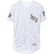 Aaron Hicks Scranton/Wilkes-Barre RailRiders Autographed Game-Used #99 White Pinstripe Jersey vs. Toledo Mud Hens on May 11, 2019 with Multiple Stat Inscriptions - Fanatics Authentic Certified