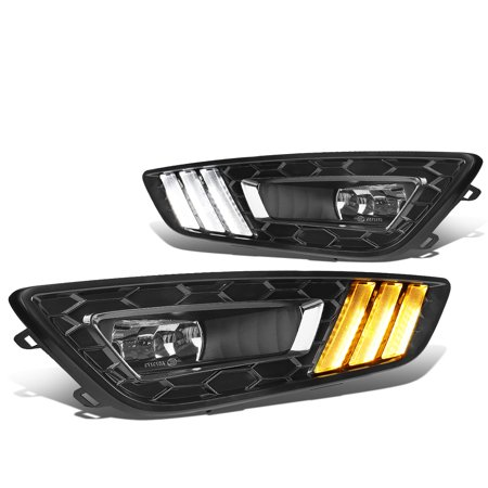 Fog Park Turn Signal Light (For 2015 to 2017 Ford Focus LED DRL Fog Lights + Build -in Turn Signal + Wiring Harness + Black Bezel Clear Lens 16 Left+Right)