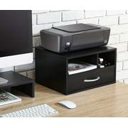 Two-Tier Printer Stand Desktop Organizer, Space-saving Desktop Stand for Printer/Fax, Modern Wood Workspace Desk Organizer Shelf Printer Stands for Home&Office, 15.75x11.81x8.86in, Black, A1338