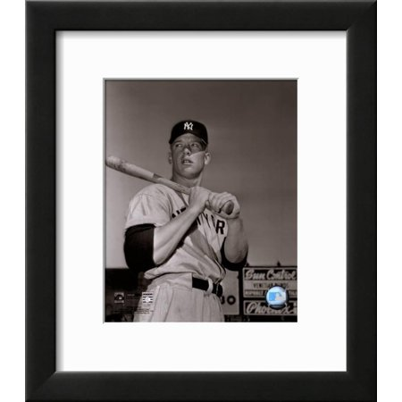 Mickey Mantle- With bat looking towards his right Framed Art Print Wall Art  - 13.5x15.5