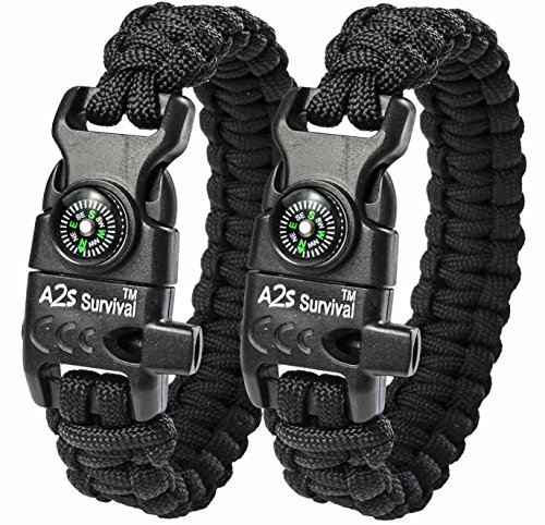 A2S Paracord Bracelet K2-Peak Survival Gear Kit with Embedded Compass, Fire Starter, Emergency Knife & Whistle Pack of 2 Quick Release Slim... by A2S Survival