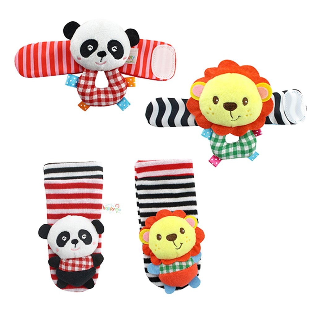 4PCS Soft Plush Animal Wrists Rattle and Foot Finder Socks Set Best Gift Early Educational Development Toy for Infant Baby Boys and Girls (Lion and Panda)