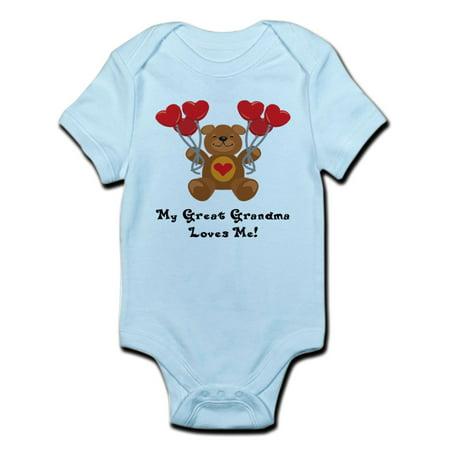 CafePress - My Great Grandma Loves Me! Infant Bodysuit - Baby Light Bodysuit Grandma Funny Infant Bodysuit
