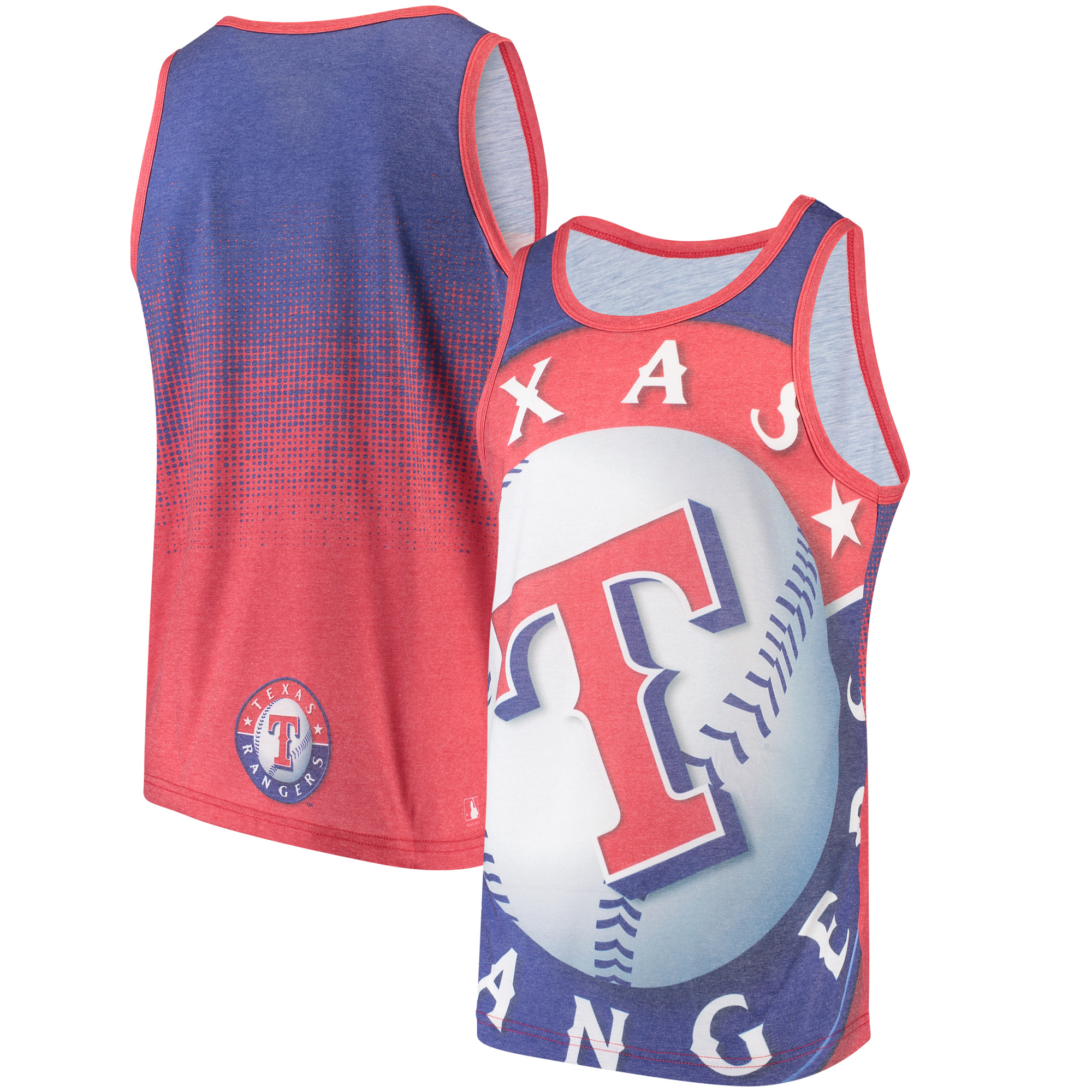 Texas Rangers Gradient Big Logo Tank Top - Red/Royal