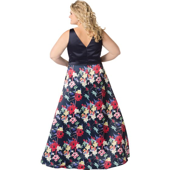 fd1d99ea0 Navy   Floral A-line Plus Size Prom Gown - Walmart.com