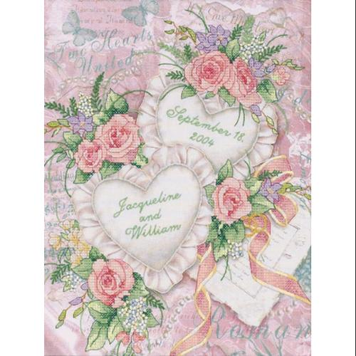 "Two Hearts United Wedding Record Stamped Cross Stitch Kit-11""X14"""