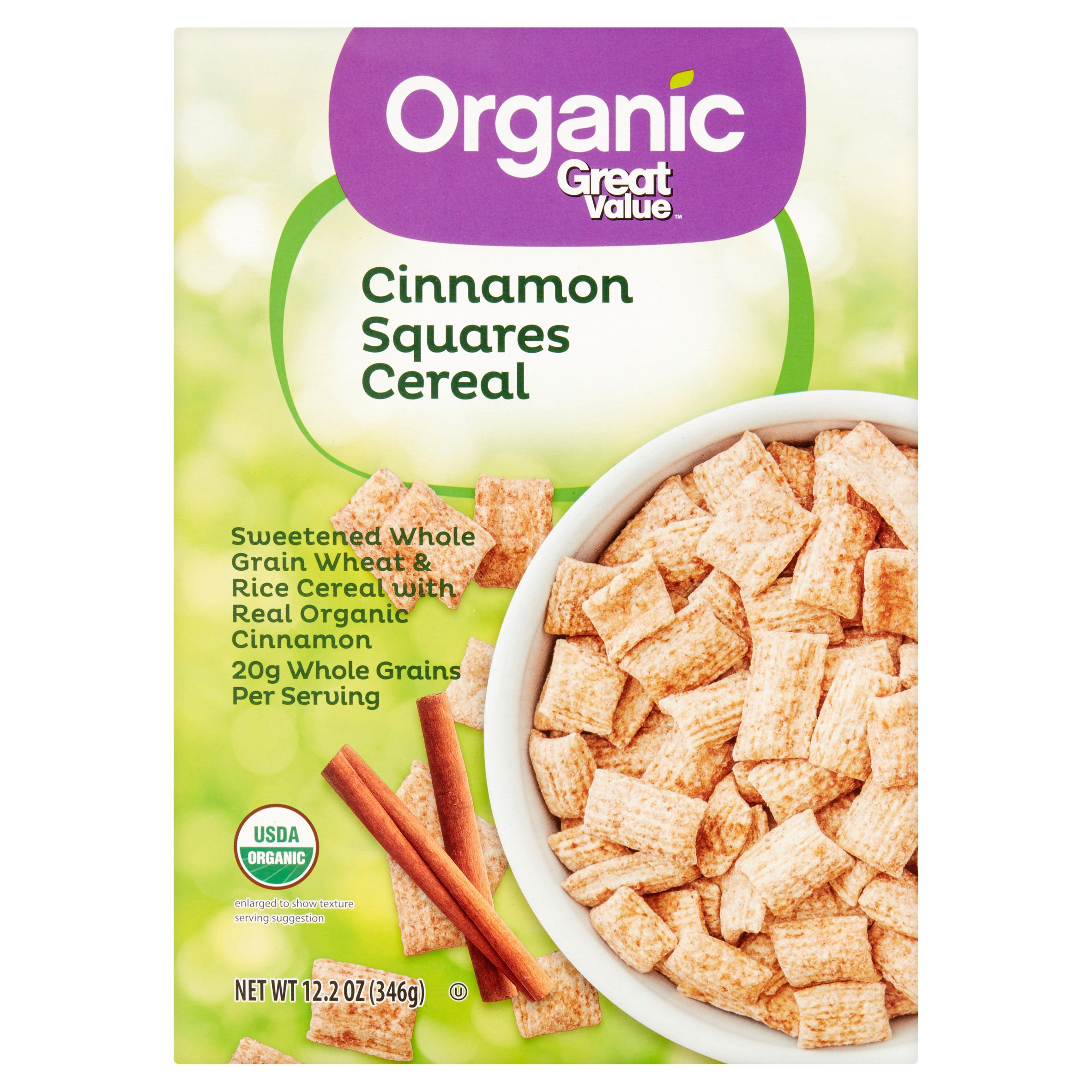 Great Value Organic Breakfast Cereal, Cinnamon Squares, 12.2 Oz