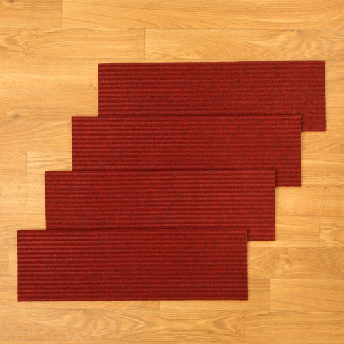 "Natural Area Rugs 100% Natural Fiber Halton, Polyester Red, Handmade Stair Treads Carpet Set of 13 (9""x29"")"