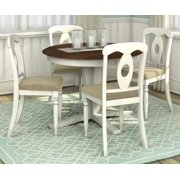 5-Pc Round Dining Table and Chair Set with Table Leaf