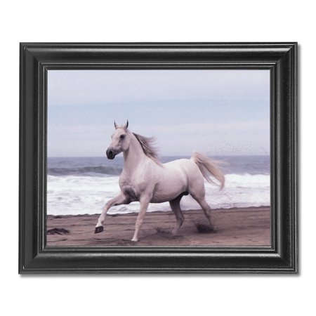 White Horse Running On Sand Ocean Beach #2 Photo Wall Picture Black Framed